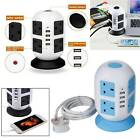 3M 8Way Extension Lead Cable Surge Protected Tower Power Socket with USB Port