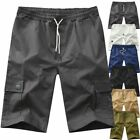 MENS PLAIN CARGO ELASTICATED SHORTS COMBAT SUMMER HOLIDAY PANTS Casual Trousers for sale  Shipping to Ireland