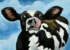Print of folk art painting CRAZY COW farm animal tongue out humor whimsical DC