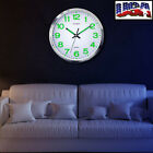 11.8'' Modern Luminous Quartz Wall Night Clock Glow In The Dark Bedroom Silent