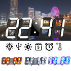 Large LED Modern 3D 12/24 Hour Display Snooze Wall Alarm Clock Multicolor Hot