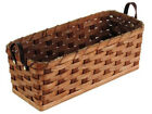 Amish Handmade Bread Basket Hard Bottom Solid Oak Woven Leather Loop Handles