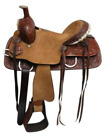 Double T Youth Hard Seat Roper Style Saddle w/ Floral Tooled Leather