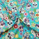 100% Cotton Poplin Fabric Rose & Hubble Sugar Skulls Day Of The Dead Material