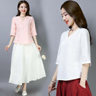 Chinese traditional costume women's cotton and linen Tops/shirt