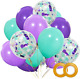 Haptda Mermaid Balloons 40 Pack- 12 Inch Light Dark Purple Seafoam Blue Latex