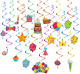 TOYMYTOY Hanging Swirl Decorations 50PCS Rainbow Ceiling Streamers Hanging for -