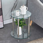 Modern 2 Tier Round Coffee Table Glass Top Sofa Side End Table Home Decor New