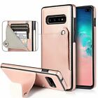 Plain Credit Card Holder Slot Pu Leather Back Protective Cell Phone Case Cover