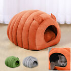 Pet Igloo Bed Small Soft Grey Plush Dog Cat Cave Bed Warm Rabbit House Kennel
