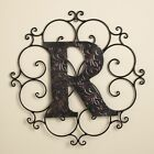 Monogram Wall Hanging Decoration with Distressed Scrollwork Finish
