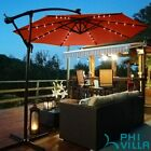 10ft/3m Patio Cantilever Garden Umbrella Parasol LED Lights Solar Outdoor Beach