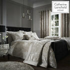 Natural Catherine Lansfield CRUSHED VELVET Duvet Cover Set Bedding Curtain Range