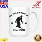 Daft Threads Big Foot Social Distancing Champion Funny Quarantine Mug 15 oz. Whi