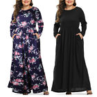 Womens Plus Size Floral Casual Party Long Maxi Dress Tunic T-Shirt Pockets Dress