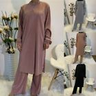 Dubai Muslim Sets Long Sleeve 2 Piece Set Women Long Tops Pant Islamic Dress