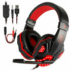 3.5mm Gaming Headset LED Headphones Stereo Bass Surround For PC Xbox One PS4 USB