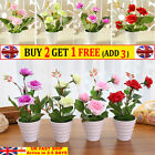 Artificial Rose Flowers Fake Plants Party Garden Table Home Decor In Pot Outdoor