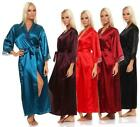 Ladies Long Kimono Nachtmantel Silk Robe Robe Sleepwear Lingerie Satined