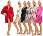 Ladies Dressing Gown Short Kimono From Satin Look IN 23 Colors Nachtmantel