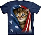 The Mountain Patriotic Kitten American Flag T-Shirt Adult Sizes