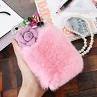 Bling handmade shockproof Diamonds Rabbit Fur TPU back Phone Covers Cases