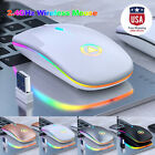 New Slim Wireless Mouse Silent USB Mice 2.4GHz Rechargeable RGB For PC Laptop US