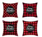 "18"" Red grid Christmas Pillow Covers Xmas Throw Pillow Cases Sofa Cushion Cover"