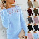 Women Long Sleeve Warm Sweater Tops Ladies Sexy Lace Jumper Pullover Blouse