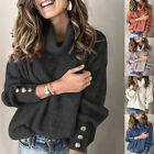 Women Knit Long Sleeve Pullover Solid Sweater Jumper Turtleneck Casual Warm Tops