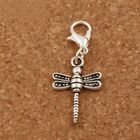 Clip-on Silver Dragonfly Dangle Charm for Bracelet Necklace Zipper Pull Keychain
