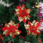 *100pcs Artificial Poinsettia 14cm Christmas Tree Flowers Glitter Ornament