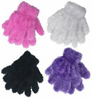 Girls Fluffy Feather Gloves 1 Pair New Soft Stretchy Xmas Winter Gloves One Size