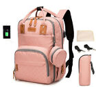 USB Mummy Baby Diaper Bag Maternity Nappy Backpack  Changing Pad Stroller Hooks