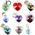 Crystal Heart & Sterling Silver Charms Made With Genuine Swarovski Elements