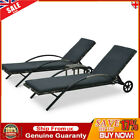 Sun Loungers With Table Wheels & Cushion Poly Rattan Garden Sun Bed Anthracite