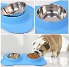 Large Dog Cat Double Bowl Puppy Food Water Feeder Stainless Steel Pets Dish UK