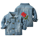 Toddler Baby Kids Girls Denim Jacket Button Down Jeans Jacket Coat Outerwear