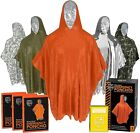 Emergency Rain Ponchos (3-Pack), Reusable Mylar Poncho for Men, Women, Kids, Adu
