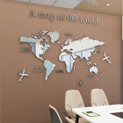 3d Mirror World Map Art Removable Wall Sticker Acrylic Mural Decal Home Decor Yu