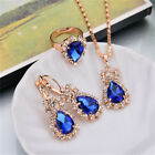 Shiny Water Drop Crystal Womens Jewelry Set Party Earring Necklace Ring Ky