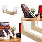 Vinyl Record Storage Holder Display Stand Acrylic Ends LP Wooden Albums Rack