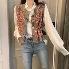 Lady Knitted Rainbow Vest Waistcoat Sleeveless Cardigans Sweaters Casual Fashion