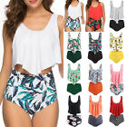 Damen High Waist Bikini Set Push Up Schwimmanzugn Bademode Tankini Badeanzug Top