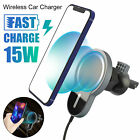 15W Qi Fast Wireless Car Vent Charger Magnetic Phone Holder For iPhone Samsung