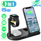 4 in 1 Wireless Charging Station Charger Stand For Apple Watch Air Pods iPhone