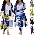 Women Two Piece Set Floral Print Long Sleeve Cardigan Tops Bodycon Pants Outfit