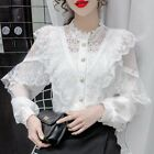 Lady Shirts Blouses Tops Long Sleeve Lace Ruffle Patchwork Button Princess Thin