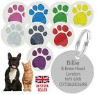 Personalised Pet Tags Engraved Glitter Paw Print Tag Dog Cat Pet ID Tags
