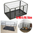 METAL DOG CAGE CARRIER PET PUPPY FOLDING TRAINING CRATE TRAVEL BLACK S/M/L/XL UK